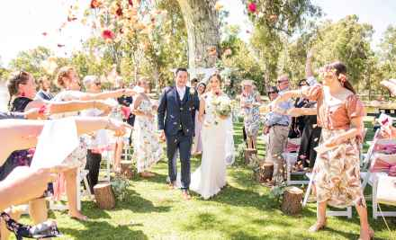 Serafino wines wedding exit