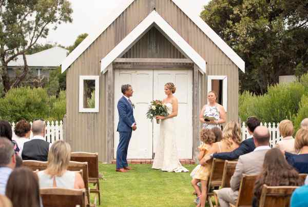 Wedding ceremony in front of little chapel