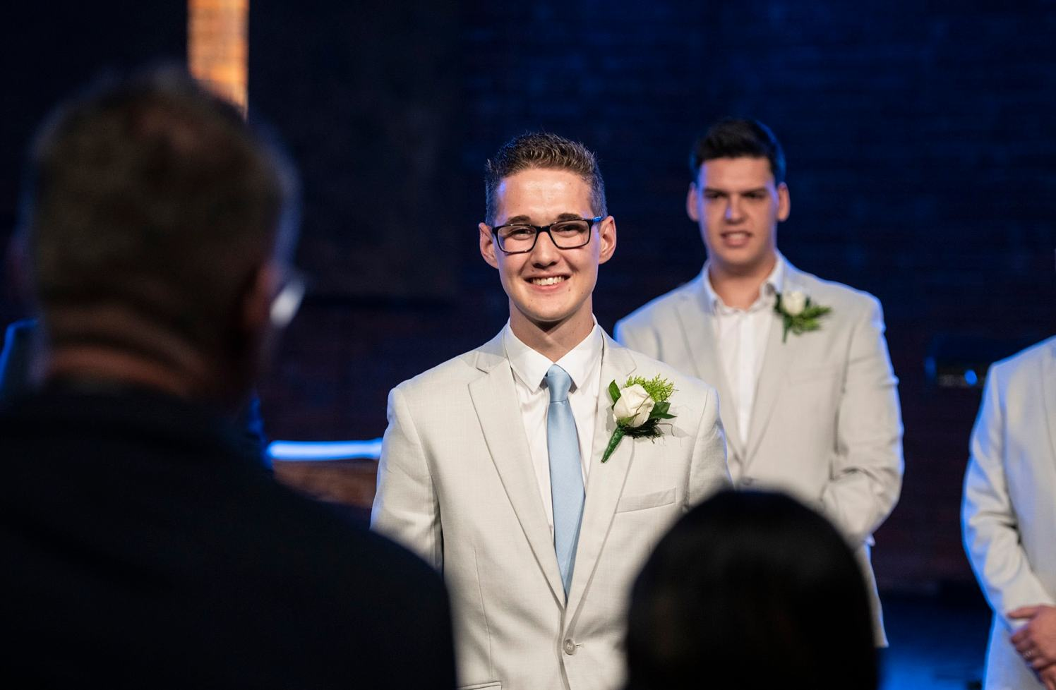 Grooms first look as she walks towards him