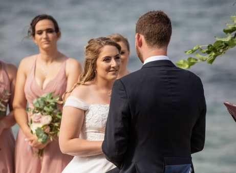 Bride lookingat her groom at Seagrass Long Point