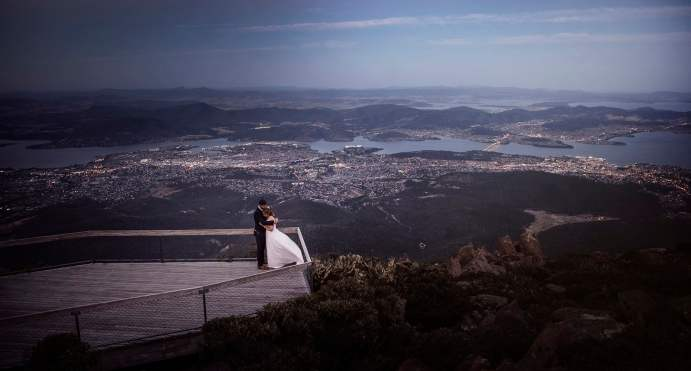 Mt Wellington Hobart wedding photo