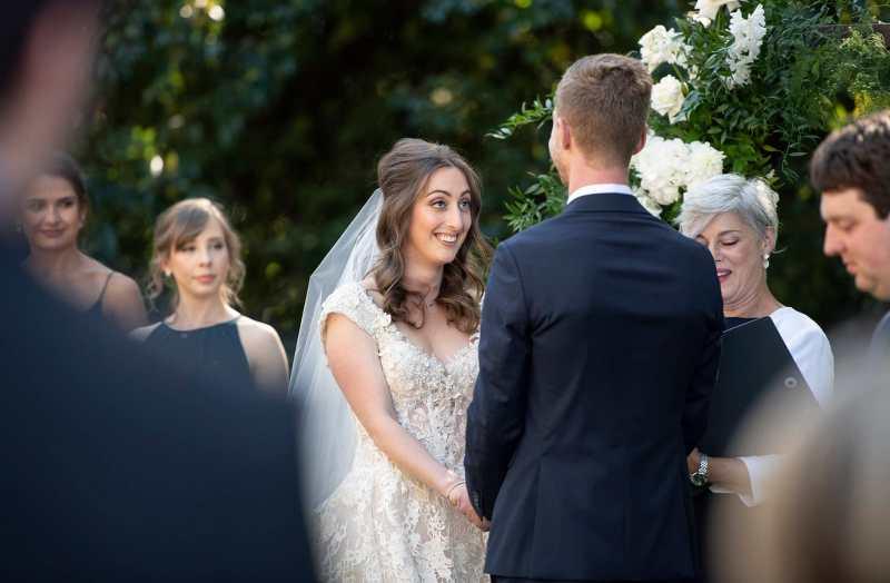 Bride turned towards groom