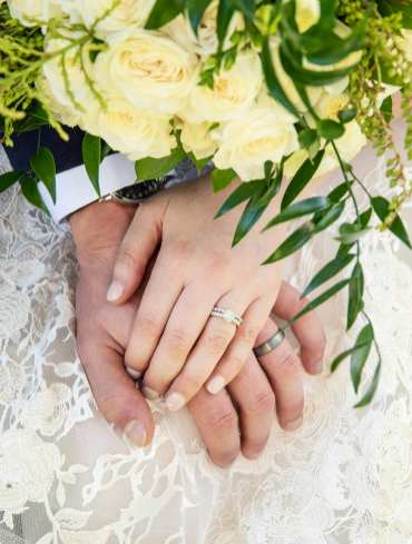 Closeup of wedding rings on hands