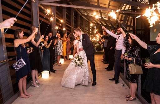 National wine center wedding Exit under sparklers