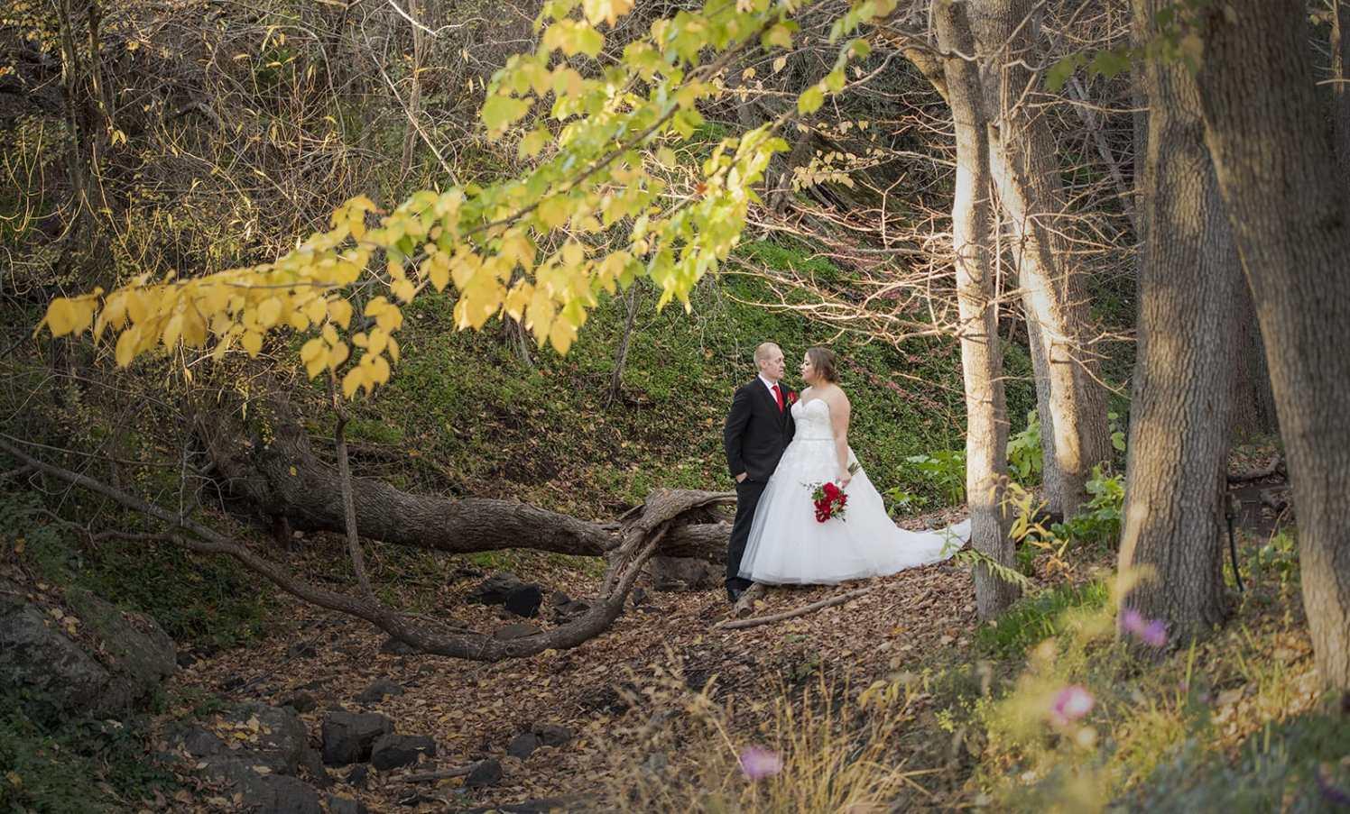 Bride and groom in the Inglewood Inn creek