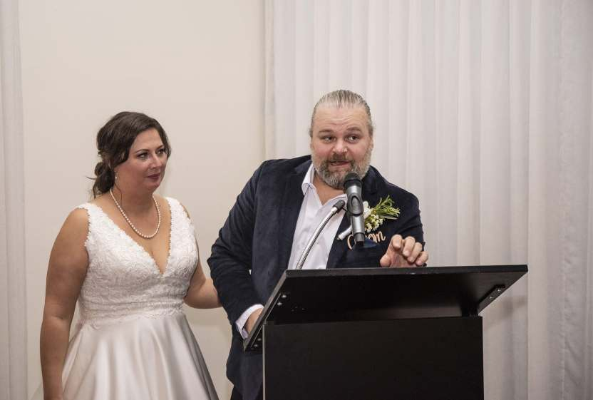 Groom speech at lecturn