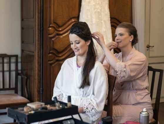 Helping with brides hair