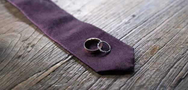 Wedding rings on tie 2