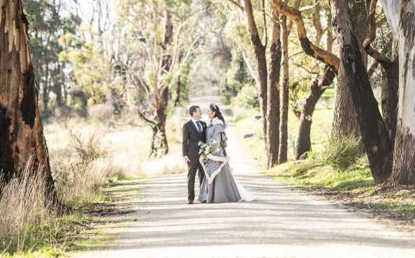 Together on the road surrounded by gum trees