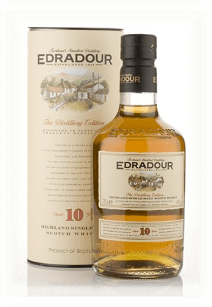 The Edradour 10 , made by the smallest distillery of Scotland.