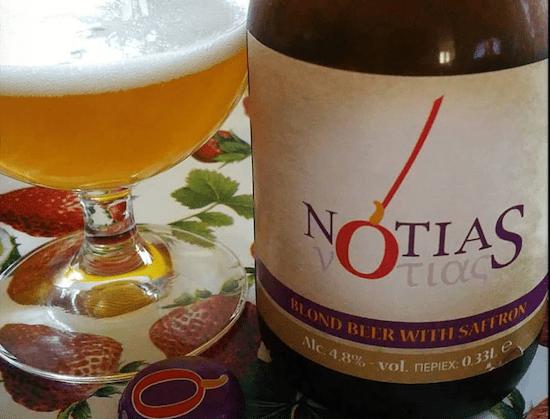 Birra Notias Votias blond beer with saffron