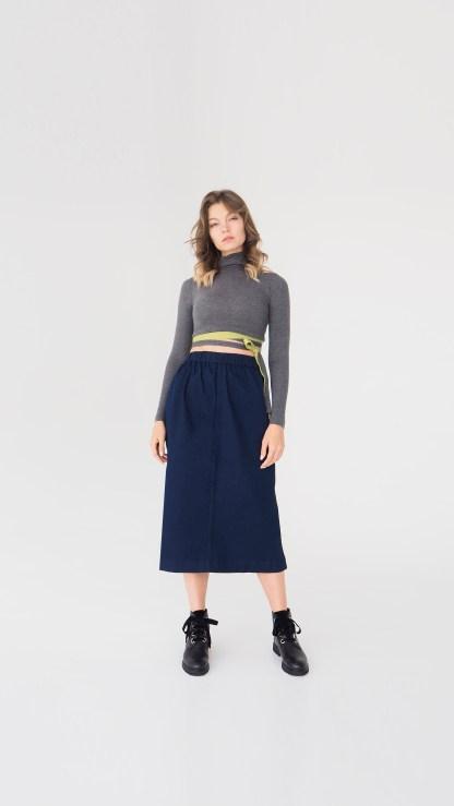 women denim midi skirt dark blue seam front details elastic waist
