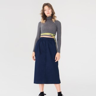 women denim midi skirt dark blue seam front details elastic waist