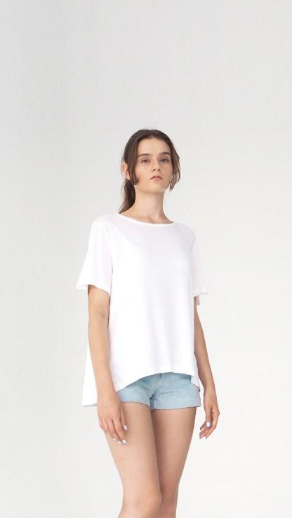 women cotton top t-shirt white long back