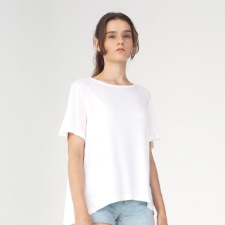 women cotton top t-shirt white long back
