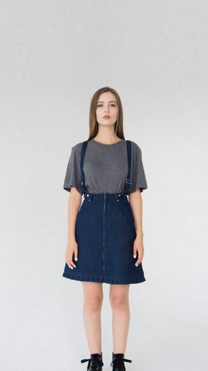 women denim mini A-line skirt dark navy blue detachable suspenders removable loops details fake leather fashion front details