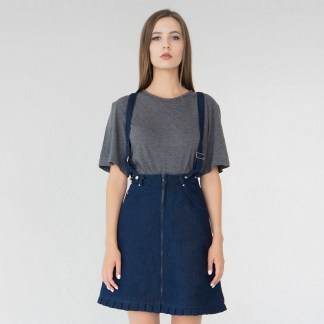 women denim mini A-line skirt dark navy blue detachable suspenders removable loops details fake leather fashion front details