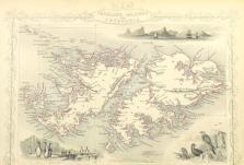 Falklandy a Patagonie na mapě z cest Jamese Cooka