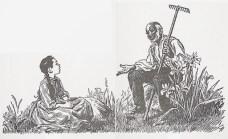 Letní pohoda na Fruitlands. Zima však přinesla vystřízlivění. Ilustrace Flora Smith.