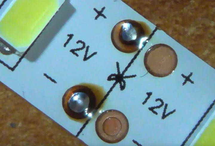 LED szalag előkészítése forrasztáshoz
