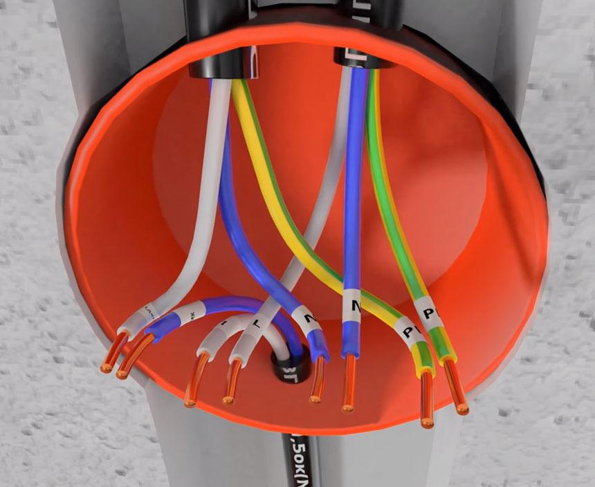 соединение проводов в распредкоробке на датчик движения
