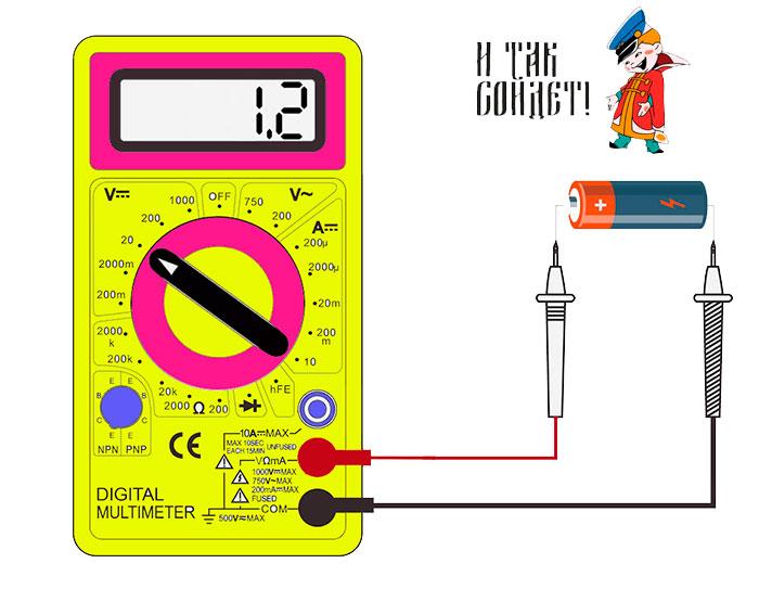 Ελέγξτε το πολυμέτρημα τάσης μπαταρίας