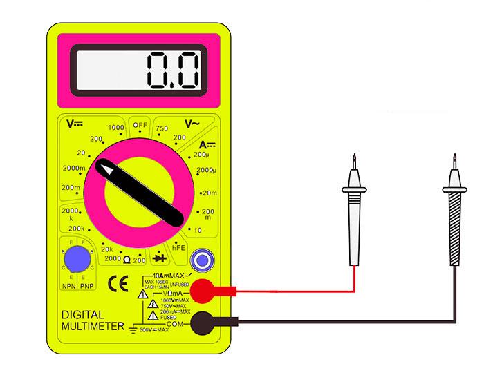 Τη θέση του ανιχνευτή στο πολύμετρο κατά τη μέτρηση της σταθερής τάσης