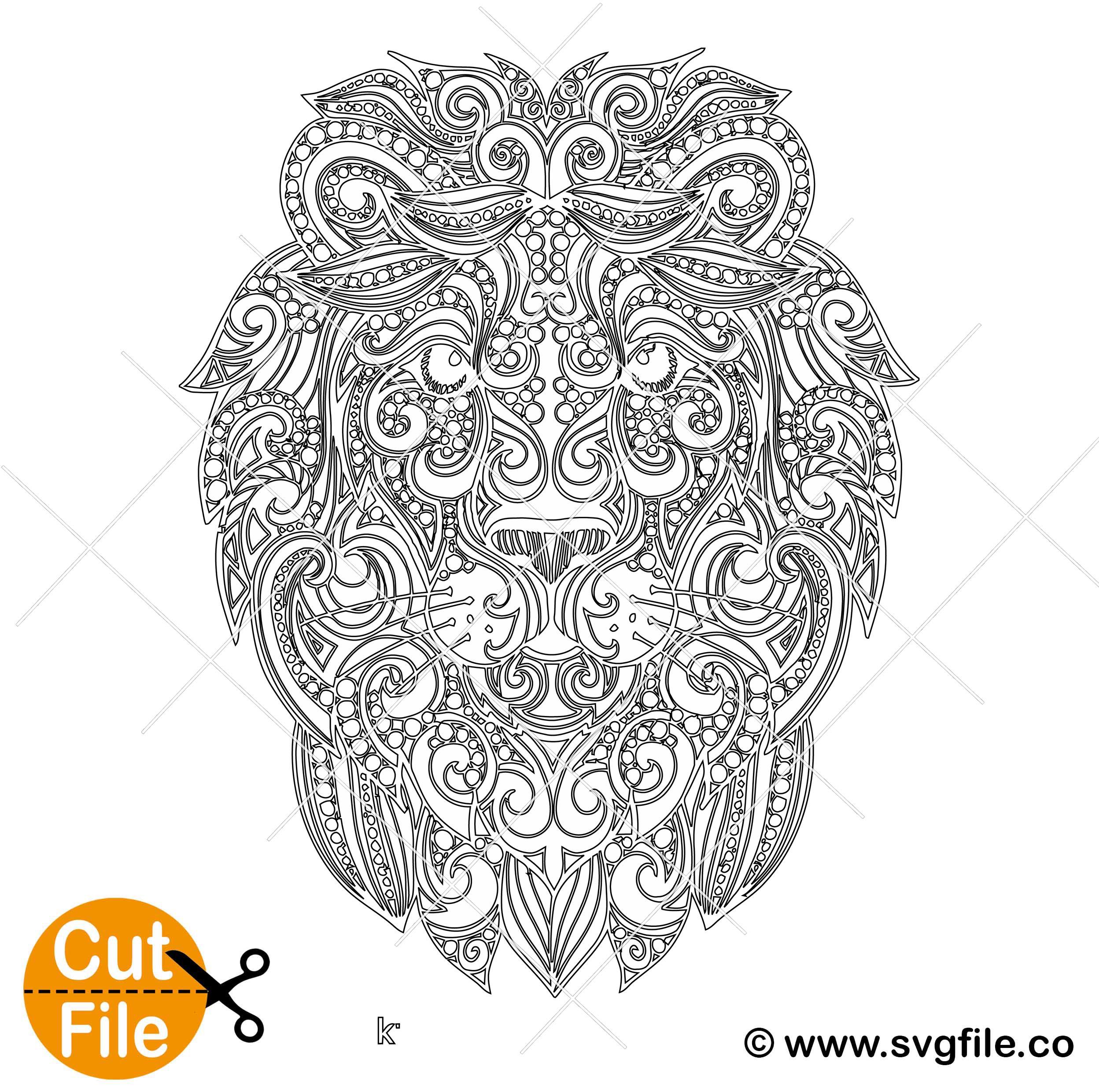 Download Lion Mandala SVG - 0.99 Cent SVG Files - Life Time Access
