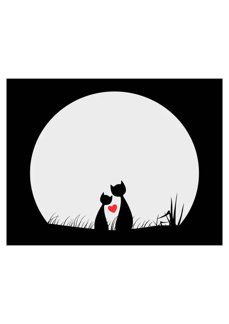 Download Cats in Love Watching Moon Black and White Clipart Free ...