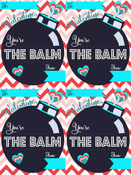 Enter your name below to download this free Chapstick Valentine cards for classmates and teachers. Create this You're The Balm Valentine with this free Valentine Printable.