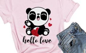 Valentine's Day Panda SVG image for shirts