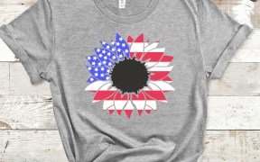 Red White and Blue Sunflower SVG