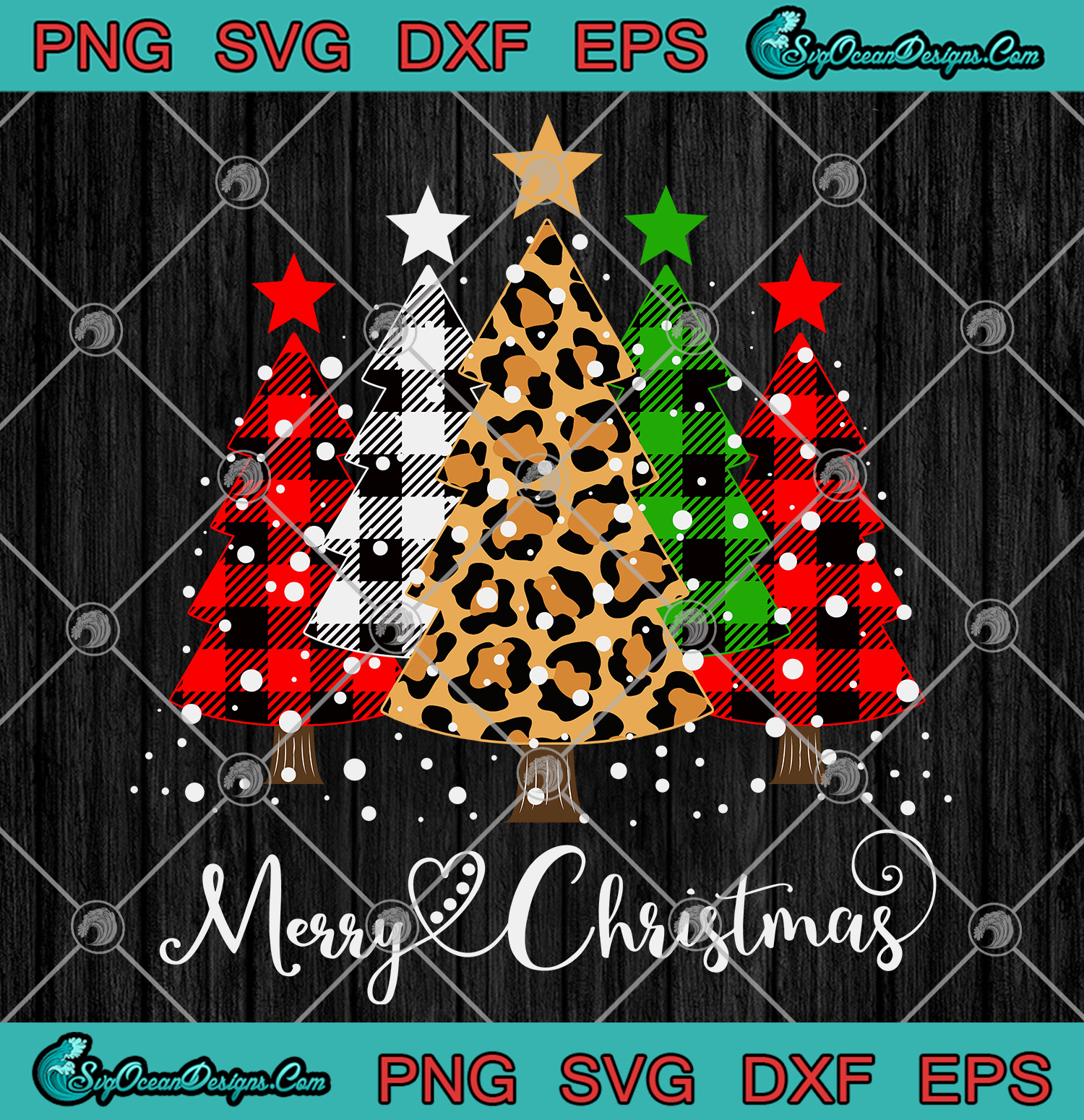 Merry Christmas Trees With Buffalo Plaid Leopard Christmas Svg Png Eps Dxf Cut File Digital Download Designs Digital Download