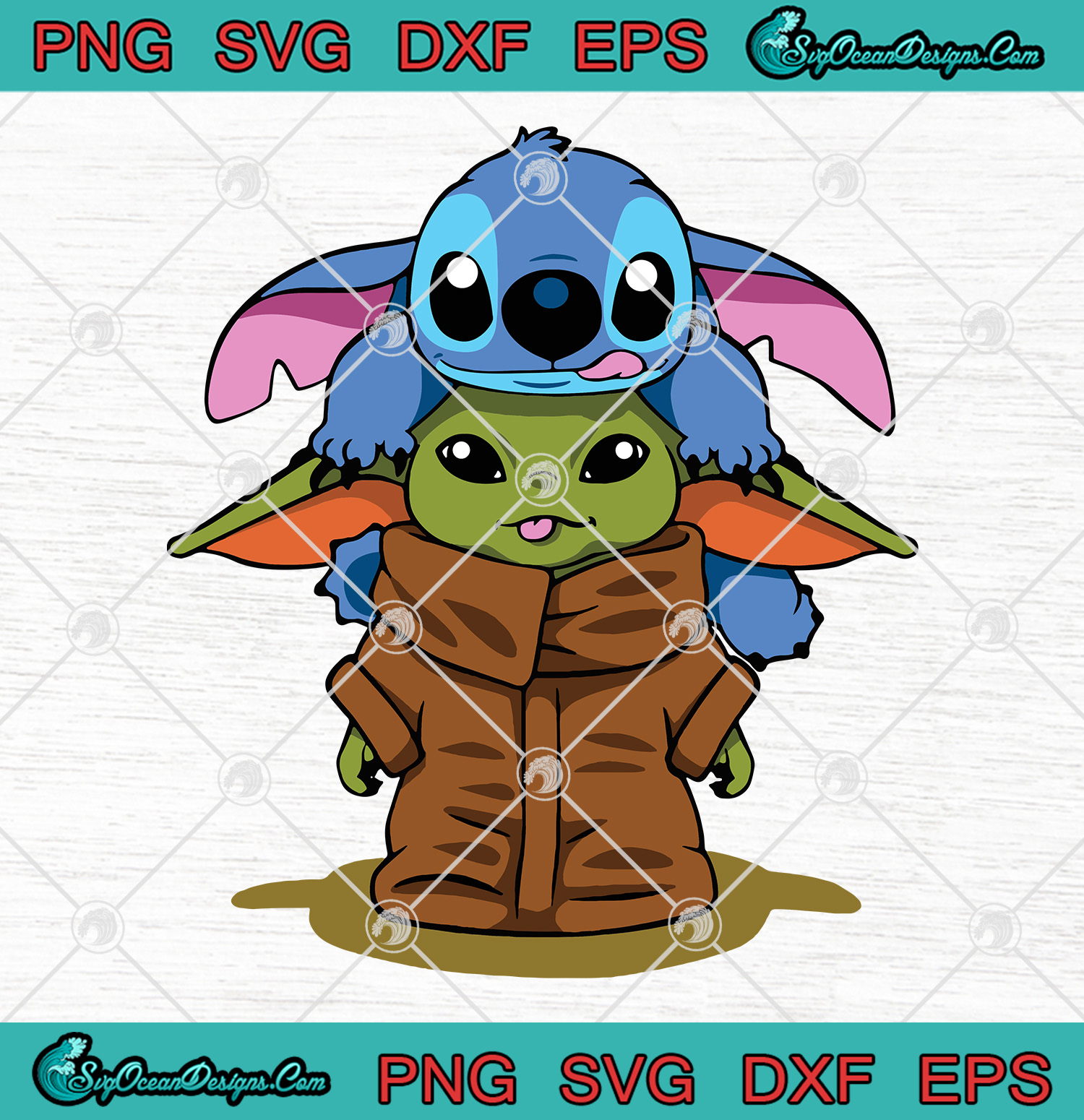 Download Baby Yoda With Stitch SVG PNG EPS DXF Vector Cricut File ...