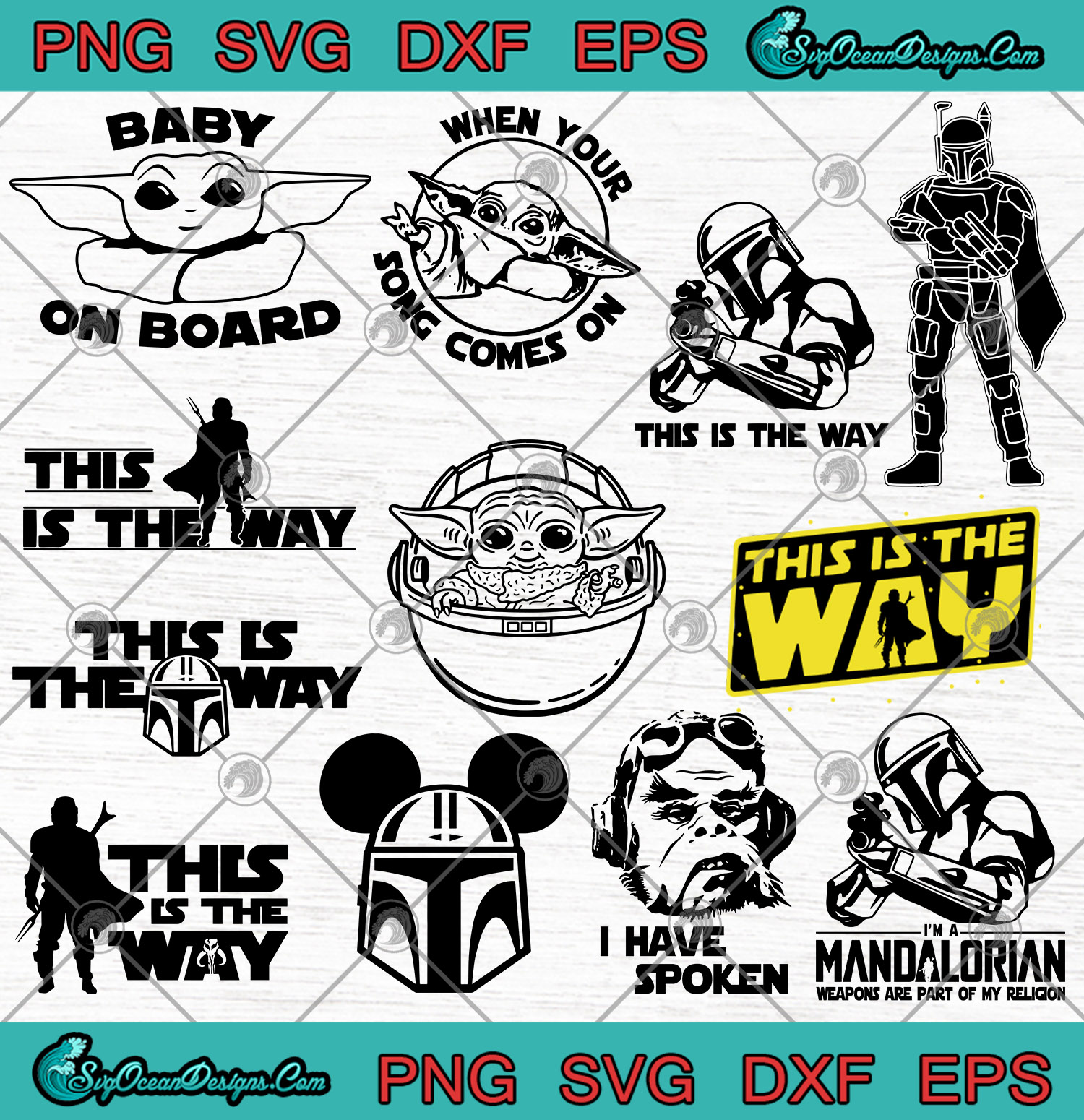 Star Wars The Mandalorian Bundle Svg Baby Yoda Svg This Is The Way Svg Png Designs Digital Download