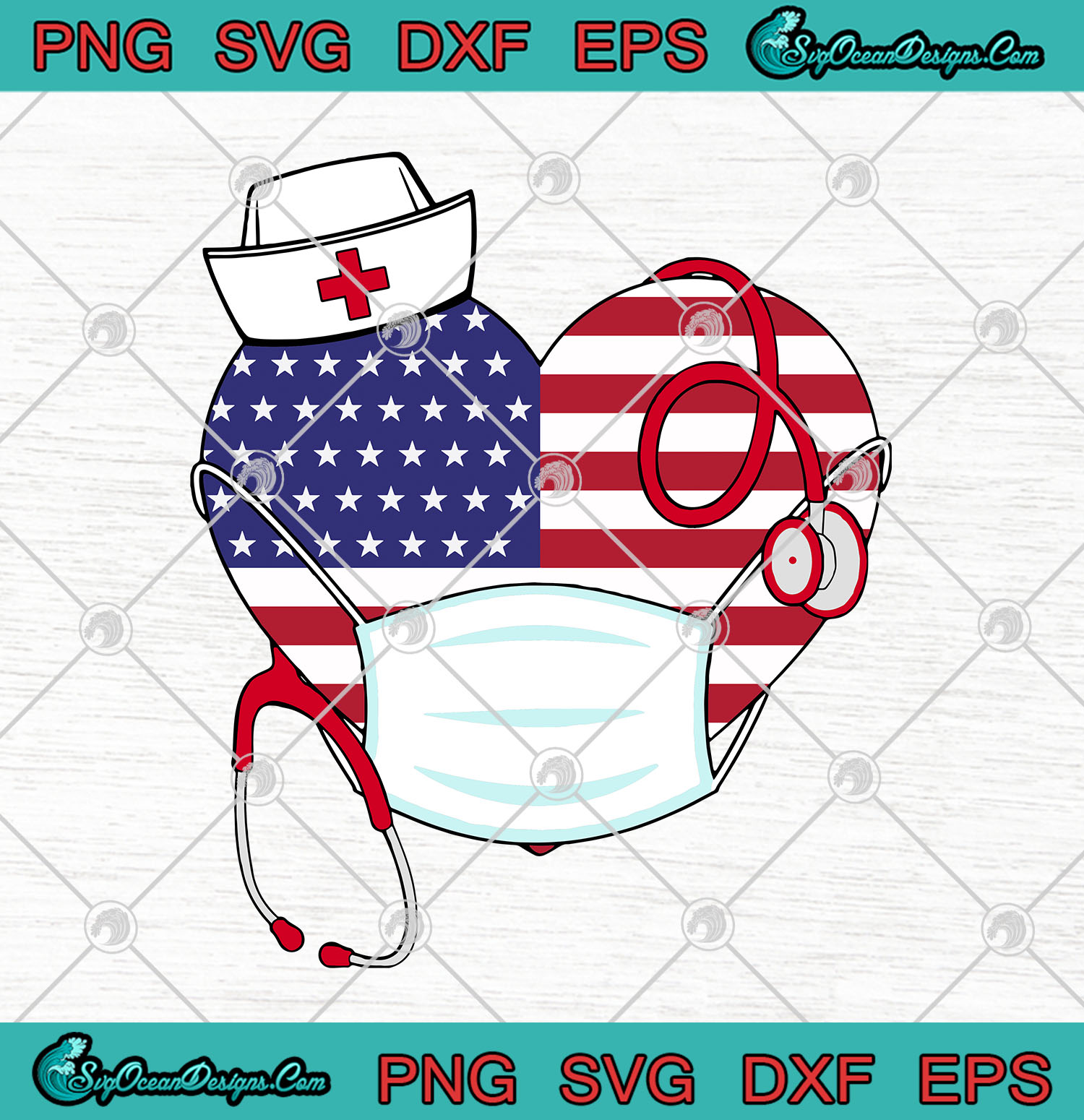 Heart American Stethoscope Nurse Face Mask Svg Png United States Of America Strong Cutting File Cricut Silhouette Art Designs Digital Download