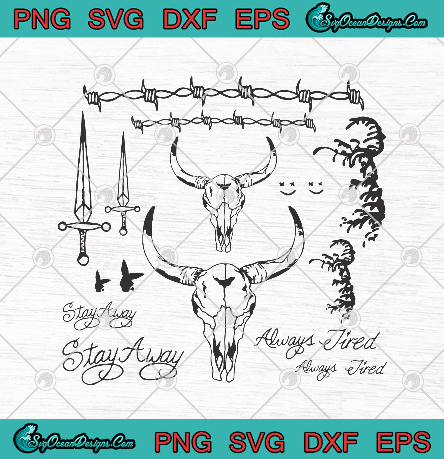 Post Malone Tattoos Stay Away Always Tired Svg Png Eps Dxf Post Malone Cutting File Cricut Silhouette Art Designs Digital Download