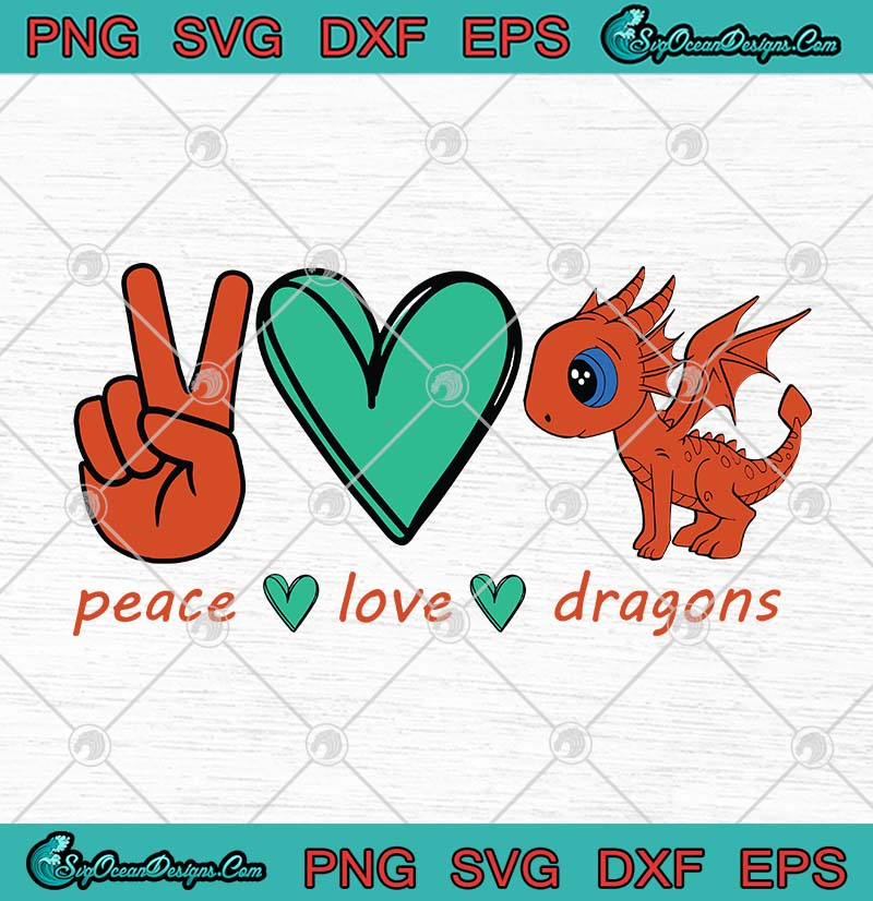 Download Peace Love Dragons SVG PNG EPS DXF Cricut File Silhouette ...