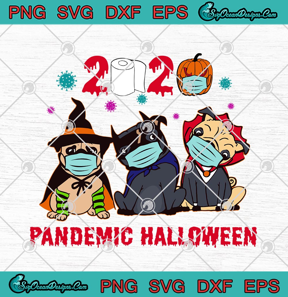 Dog Witch In Halloween Costume And Face Mask 2020 Pandemic Halloween Svg Png Eps Dxf Cricut File Silhouette Art Designs Digital Download