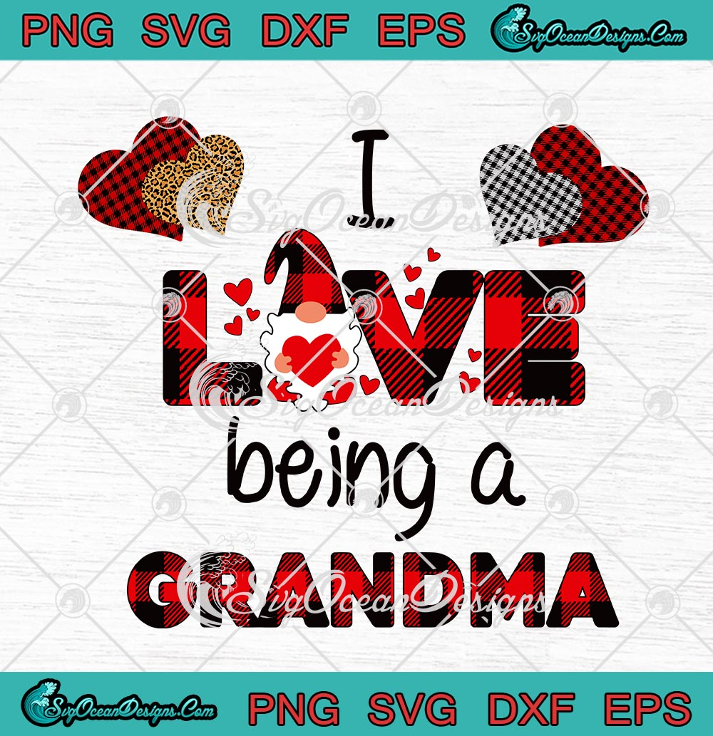 Download I Love Being A Grandma Red Buffalo Plaid Gnome Heart Happy ...