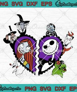 Heart Jack And Sally Nightmare Before Christmas Valentine's Day Halloween svg cricut