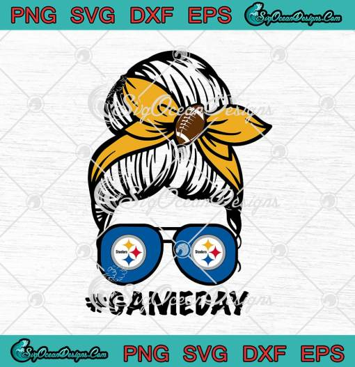 Pittsburgh Steelers Game Day Messy Bun SVG American Football Lover svg cricut