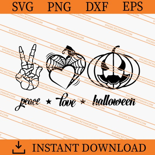 Peace Love Halloween SVG