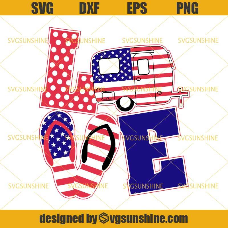 Download Love America SVG, Love Camper SVG, Flip Flops SVG, Camping ...