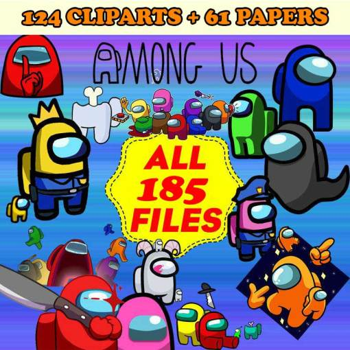 Among Us Clipart ,Among Us Paper Among Us PNG, Among Us Digital Paper Download – Instant Download