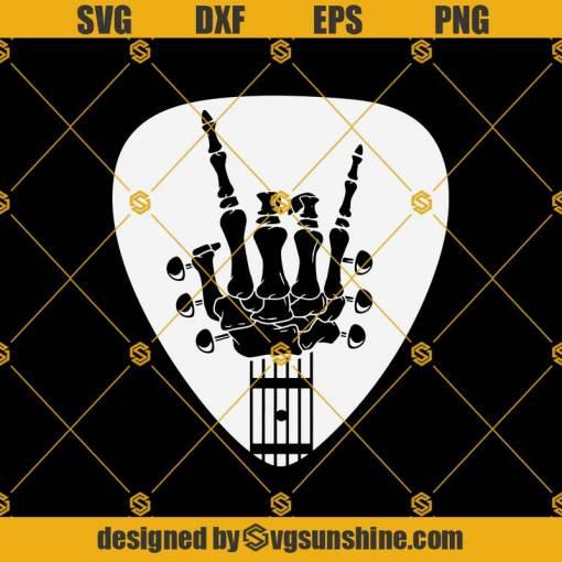 Guitar Rock And Roll Svg, Skeleton Hand Guitarists Svg