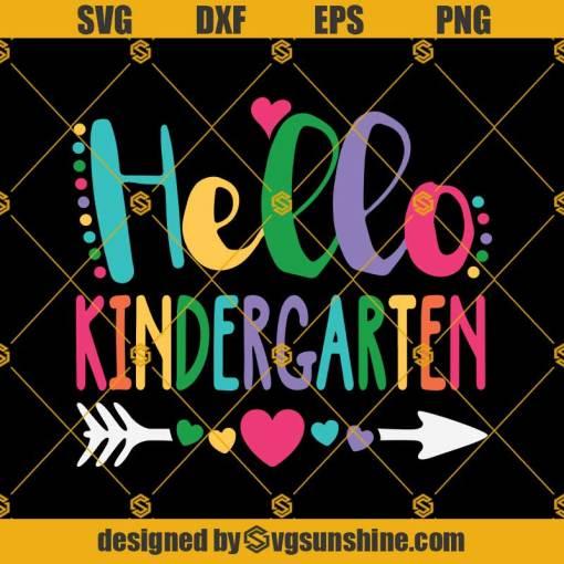 Hello Kindergarten Svg, Heart Teacher Student Back To School Svg