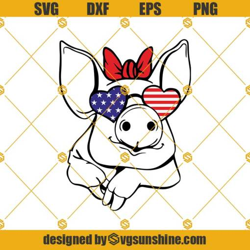 Funny Little Piggy With American Flag Svg, Funny Little Piggy Svg, American Flag Svg