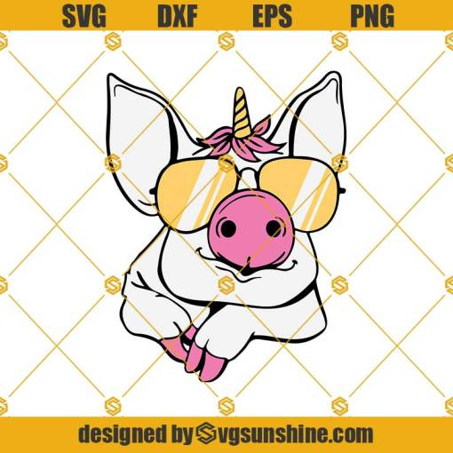 Funny Little Piggy Unicorn Glasses Svg, Funny Little Piggy Svg, Unicorn Svg, Glasses Svg