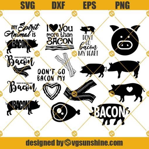 Bacon SVG Bundle, Pig SVG Bundle, Bacon cut file, Bacon clipart, Bacon svg files for silhouette, cricut